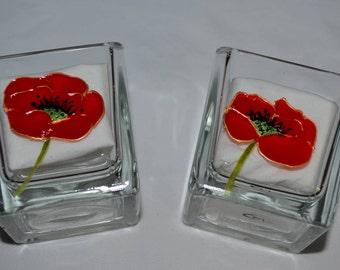"""Lot de 2 petits photophores carrés en verre peints """"les coquelicots"""", peinture sur verre opaleisis, sur Etsy"""