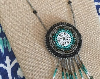 Beautiful Bohemian Handmade Dreamcatcher Mandala Beaded Satchel Necklace