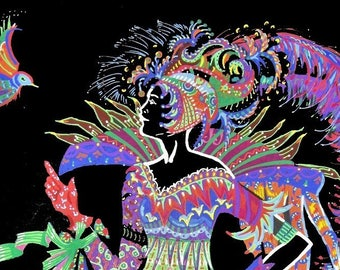 Tableau, Tableau peinture, dessin, feutre, contemporain, femme, oiseau, fantastique, multicolore, fond noir, pour sous-verre