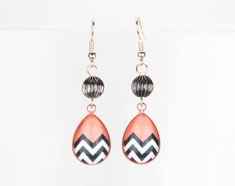 Copper earrings pink gold black and white herringbone #1246