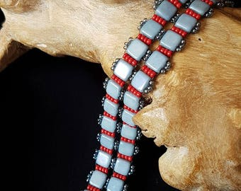 Grey and Red Beadwoven Bracelet