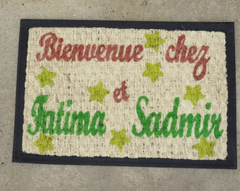 Doormat to personalized with names, natural coconut fiber mat for entrance, turquoise, pink color, welcome home lovers.
