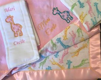 Recieving blanket and burp cloth set