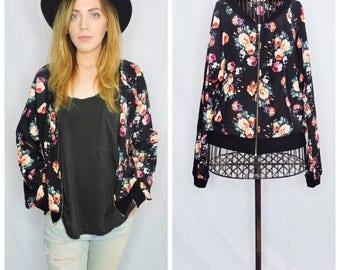 vintage floral print black bomber jacket
