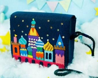 DIY Kit Magic Castle Felt Crossbody Bag / Handbag