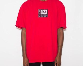 Nautica, Vintage Nautica, 90s Nautica, Streetwear, Crew Neck, Nautica Shirt, Retro, 90s Clothes, Logo, 90s Clothing, Distressed Tshirt, 90s