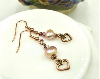 Heart Dangle Earrings, Copper Pearl Earrings, Pink Pearl Earrings, Pink Crystal Earrings, Copper Heart Earrings, Pearl Earrings, Pink Heart