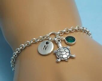Silver turtle bracelet Sea turtle bracelet Turtle jewelry Silver turtle charm Tortoise bracelet Tortoise jewelry Turtle gifts for her