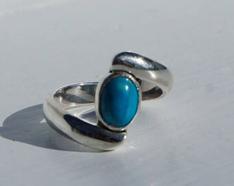 Turquoise Silver Ring - Sterling Silver Turquoise - Wrap around