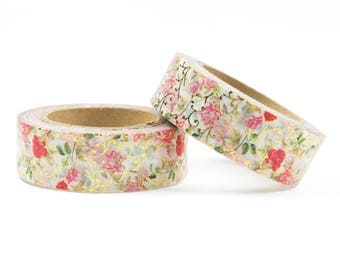 Gold foil washi tape with flowers