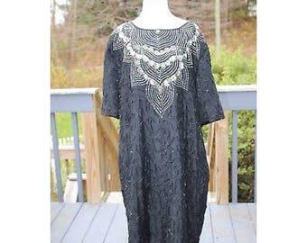 VTG Stenay Beaded Dress, Vintage Stenay Dress, VIntage Beaded Dress, VTG Beaded Dress, Vintage Dress, Beaded Dress, Silk Beaded Dress