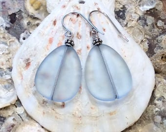 Icy Blue Sea Glass Earrings with Antique Silver Beads, Beach Glass Earrings, Recycled Glass