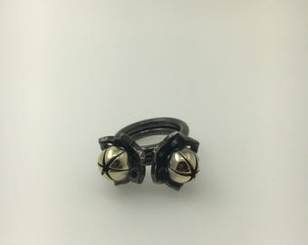 black rhodium flower rings
