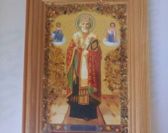 Small Orthodox Icon of Saint Nicholas decorated with Amber Cramb , 1991, Easter Gift, Anniversary Souvenir , FREE SHIPPING