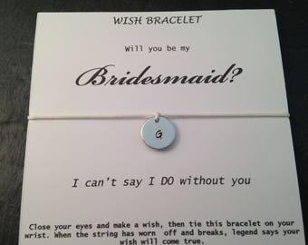 Zal u mijn bruidsmeisje, cadeau voor bruidsmeisje, bruidsmeisje nodigt, huwelijksgeschenk, Wish armband, eerste juwelen, Maid of honour