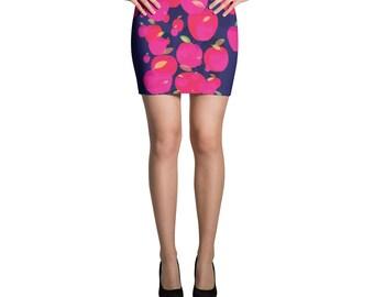 Mini Skirt, Apple Printed Pattern Bright, Bold, Classic Mini Skirt, Pink Apple Skirt, Form Fitting Mini Skirt, Stretchy Skirt, Art Skirt