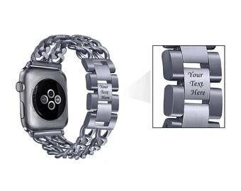 Space Gray Stainless Steel Engraved Apple Watch Band Jewelry Double Row Chain Link 38mm 42mm Bracelet Band Adjustable Girlfriend Gift 2018
