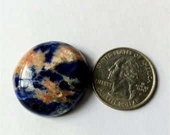 29.09 mm,Round Shape Sodalite,Attractive Sodalite /wire wrap stone/Super Shiny/Pendant Cabochon/Semi PreciousGemstone,silver jewelry