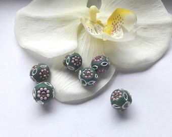 6 beads round polymer