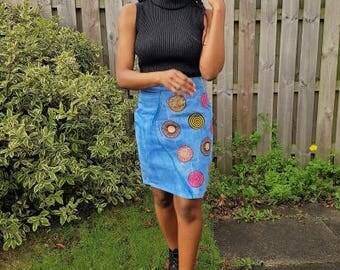 FOLKSHELF African Print Patched Denim Skirt - Vintage Style