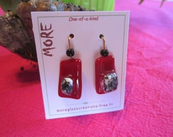 Burgundy and grey/white glass earrings