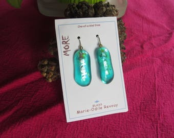 Fused glass blue green transparent with silver leaf inclusion iridescent earrings