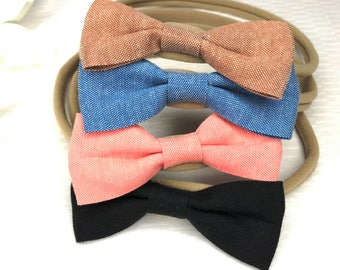 Set of 4 baby bow headbands, hair bow for girls, denim hair bows, nude nylon headband, fabric hair bow for baby girls