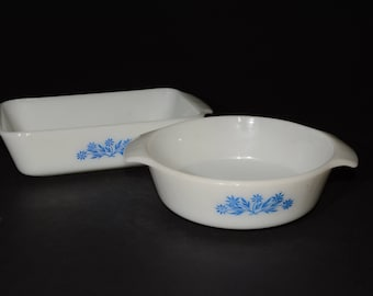 FIRE KING Milk glass, Rectangle Loaf pan and round casserole, Blue Cornflowers pattern, baking dish, Anchor Hocking, Casserole dish, Vintage