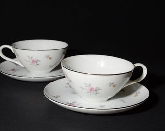 Lorraine, Rose, Lovely, Fine China, Japan, Pattern 3826, Duo of, Tea Cup and Saucer, 2 sets, Coffee Tea Cup, Vintage