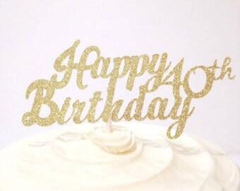 40th Birthday / Milestone Birthday / Custom Cake Topper in Sparkling Glitter!