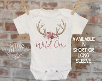 Wild One Woodland Style in Script Onesie®, First Birthday Onesie, Rustic Onesie, Cute Onesie, Boho Baby Onesie, Girl Antlers Onesie - 239W