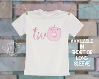 Two Unicorn Pink Pig Donut®/T-Shirt, Second Birthday Shirt, 2nd Birthday, Customized Shirt, Boho Kids, Woodland Animals Shirt - 270D