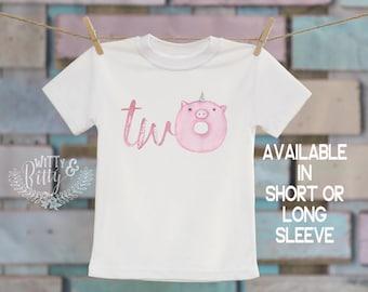 Two Unicorn Pink Pig Donut®/T-Shirt, Second Birthday Shirt, 2nd Birthday, Customized Shirt, Boho Kids, Woodland Animals Shirt - 270D