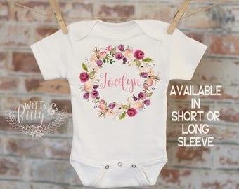 Pink Wreath Custom Baby Onesie®, Personalized Onesie, Custom Baby Outfit, Rustic Style Onesie, Boho Baby Onesie, Girl Name Onesie - 419J