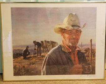 "Duane Bryers 1979 ""Middle of Nowhere"" Lithograph Signed and Numbered in Pencil Framed Behind Art Glass"