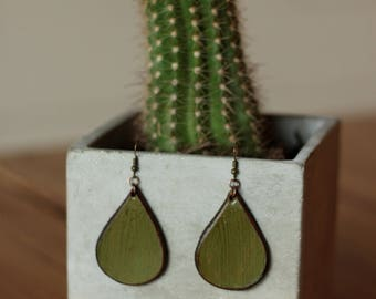 Sierra Small Olive Earrings | Leather Earrings | Birthday Gift | Anniversary | Gifts under 25 | Handmade | Gifts for Her