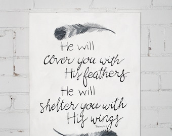 Hand Painted Canvas- He Will Cover You with His Feathers