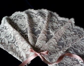 1yd (0.91m) of Raschel Stretch Lace- Gray Beige floral pattern - 14.5cm(5.7inch) Wide,RL_SL012