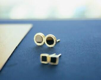 2 Pairs 14K Gold Stud Earrings, Black Onyx Earrings, Set Earrings, Geometric Earrings, Tiny Earrings, Simple Stud, Minimalist, Gift for Her