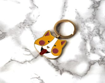 Cute Happy Cat Enamel Keychain, Gold Plated, Funny Kitten Keychain, Animal Lover Keychain, Birthday Gifts For Teen Under 20, Cool Kitty Gift
