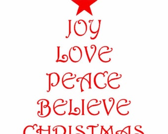 Christmas Tree Shape with Christmas Words, Joy, Love, Peace, Believe, Christmas