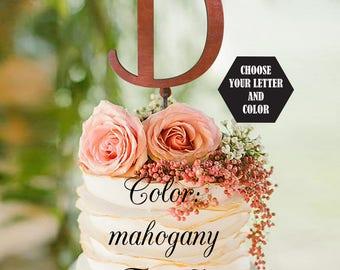Monogram Wedding Cake Topper, Gold Cake Topper, Letter D cake topper, Gold Glitter Toppers, Initials Cake Topper Single Letter