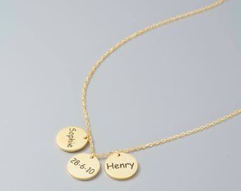 Bridesmaid Dainty Gift • Dainty Necklace for women • Custom Name Necklace  • Charm Necklace • Gold Disc Name Necklace Name necklace #NPNC003