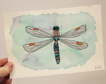 Dragonfly - modern - dragonfly painting - watercolor - nature painting - insects - wall decor - mixed media - illustration - wall art