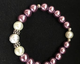 Purple and Pearl beaded bracelet