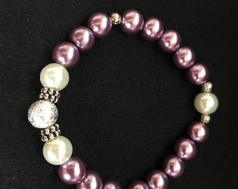 Purple and Pearl beaded bracelet