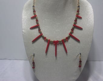 Handmade red spike necklace set
