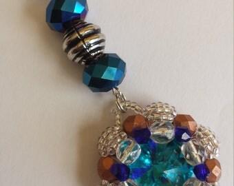 "Pendant 1 ""rivoli/aquamarine glass rhinestones and glass beads""-3x8.5cm"