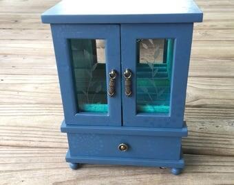 Vintage Upcycled Jewelry Box, Petite Armoire , Twilight Blue
