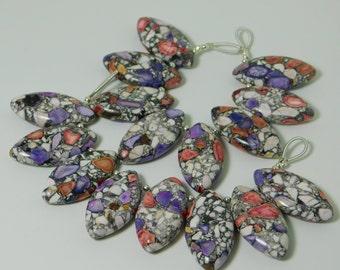 Jasper plain marquise shape bead - 8PCS - 15mm x 30mm x 6mm -STK-60-JSPB-01